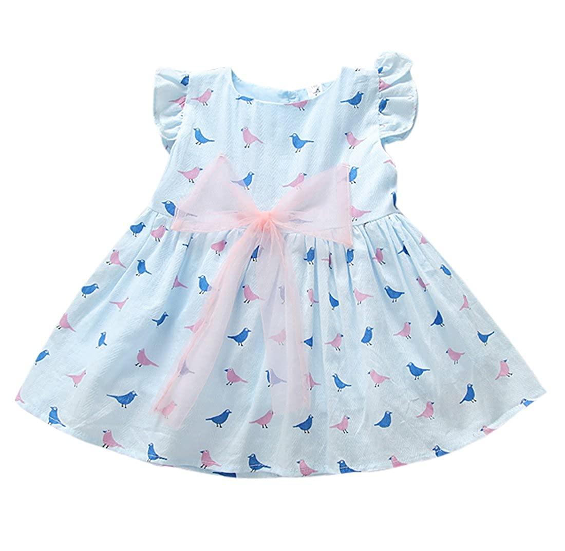 9068706b55b6 Kids Baby Girls Birds Print Cute Bowknot Casual Summer Dress One Piece   Amazon.ca  Clothing   Accessories