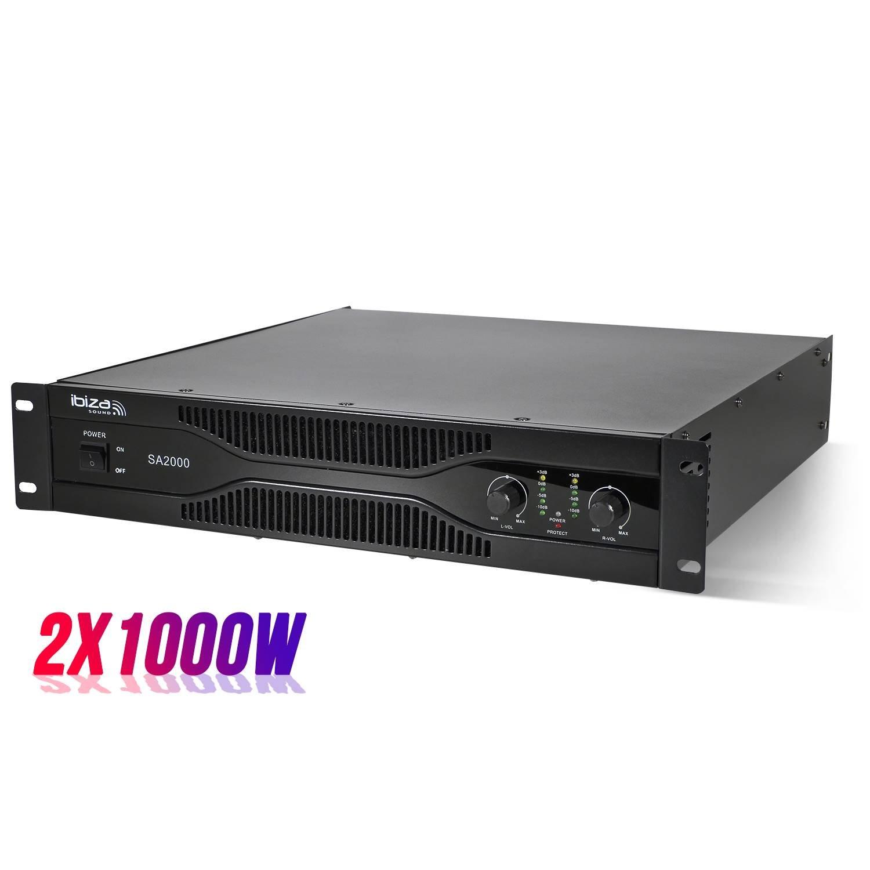 Amplificateur sono 2 x 1000W rack 19 XLR/RCA/Jack 6.35mm - Ibiza Sound SA2000