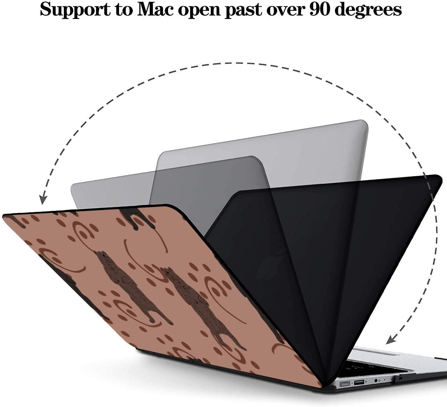 MacBook 2017 Case Summer Romantic Love Pear Cat Green Leaf Plastic Hard Shell Compatible Mac Air 11 Pro 13 15 Cover MacBook Air 13 Protection for MacBook 2016-2019 Version