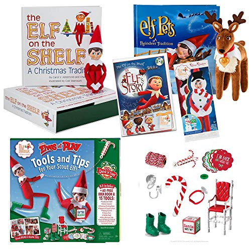 The Elf on the Shelf Play Starter Bundle with Blue eye boy Elf, Silly Snowman Set, Elf Pet Reindeer, an Original Elf Story DVD and Scout Elves at play set (Letter From Elf On Shelf To Child)
