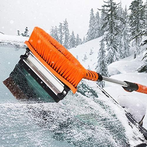 Matcc Eiskratzer Auto Mit Besen Schneebesen Auto 105cm Ausziehbare Schneebürste Mit Abzieher Auto Eisschaber Für Auto Car Pkw Lkw Und Suv Auto