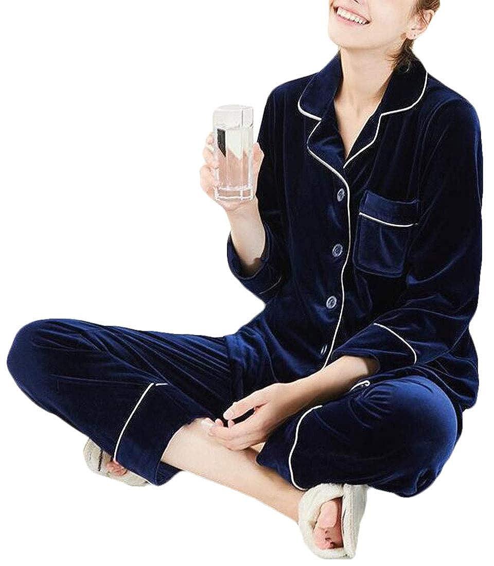 Navy bluee SELX Women Velvet Sleepwear Long Sleeve 2 Pcs Top and Pants Pajama Set