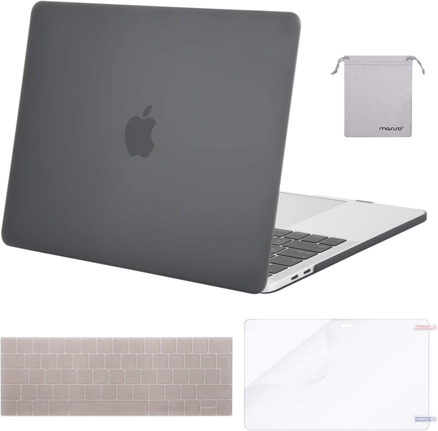 Plastique Coque Rigide/&Protection Clavier/&Protecteur d/écran/&Pochette Hydrofuge MOSISO Coque Compatible avec MacBook Pro 13 Pouces A2159//A1989//A1706//A1708 2019-2016 Noir