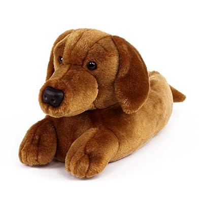 Amazon.com | AnimalSlippers.com Dachshund Slippers - Plush Dog Animal Slippers Brown, 9-12 | Slippers