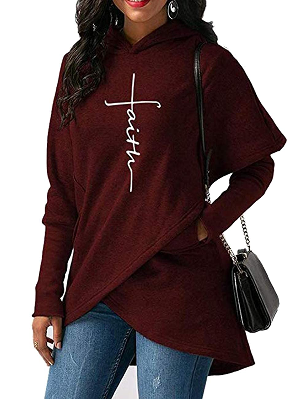 Lrud Women Novelty Hoodies Faith Embroidered Long Sleeve Tops Pocket Sweatshirt