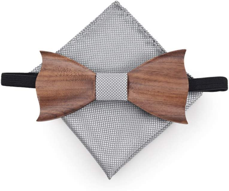 Color : Silver Canyixiu-v Bow Tie Pre-Tied Brooch Pin Collar 3 D Relief Wooden Bow Tie Suits Grid Squares Cufflinks Leisure Solid Wood Green Suit Gift Box for Men for Wedding Party
