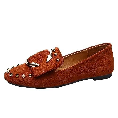 Amazon.com: Zapatos mocasines mujer con tachuelas, Flats ...