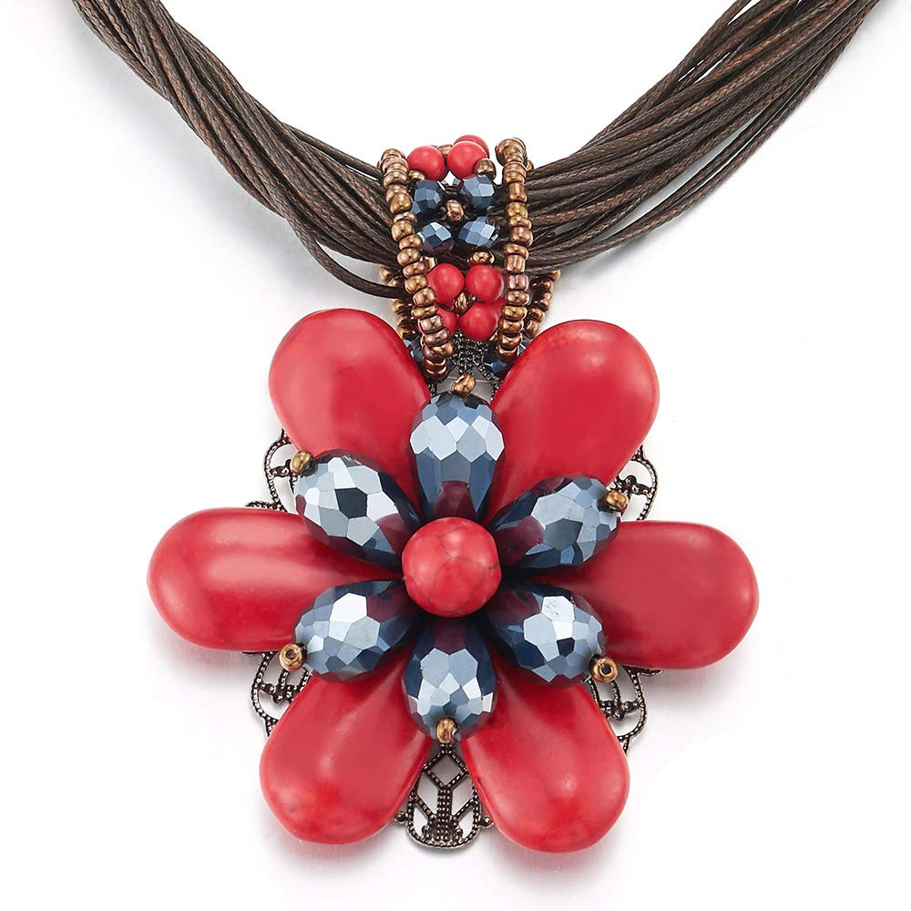 F/ête Pendantes Rouge Bleu Pierres Charmes Pendentif iMETACLII Grande Statement Fleur Multi-Brin Collier Bavoir Choker