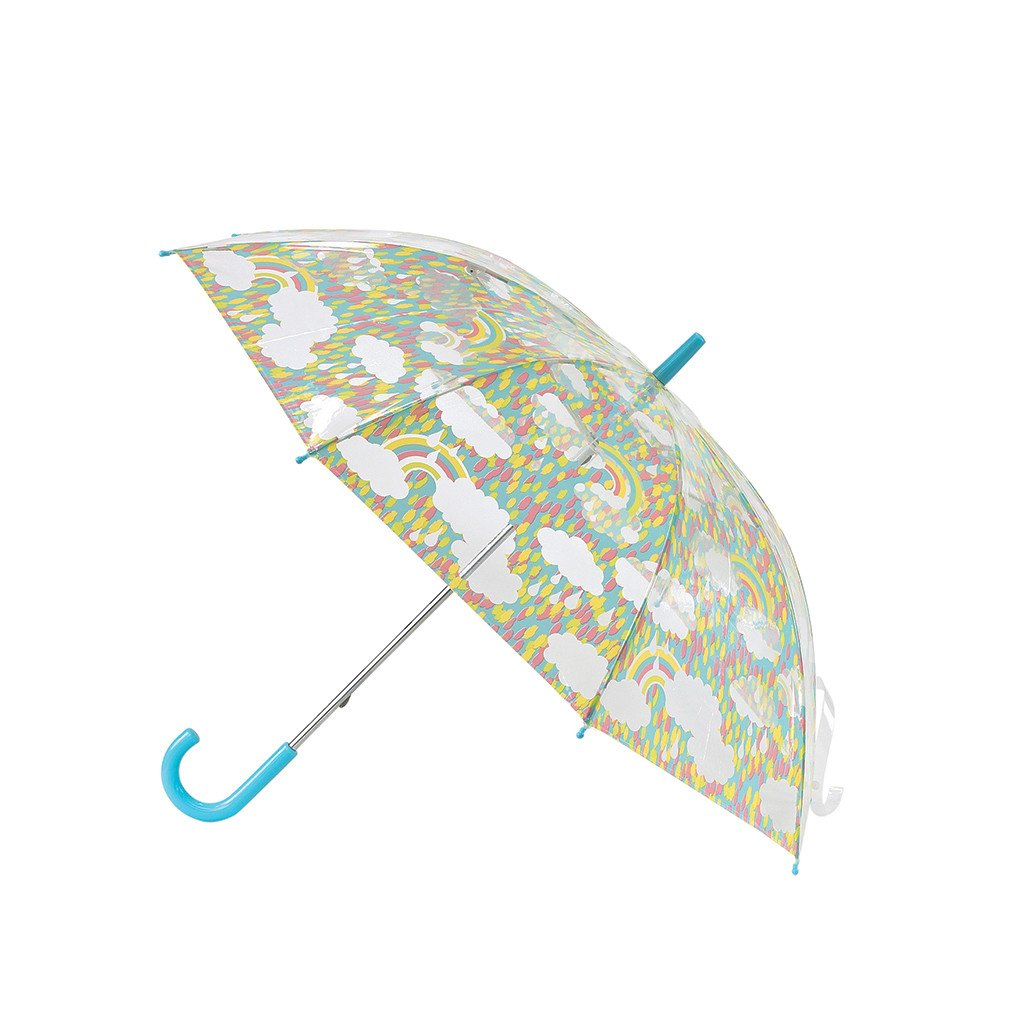 Time Concept Kids Happy Clear Umbrella - Rainbow/Blue - Pop-Up Stick Canopy, Sun/Rain Travel Protection