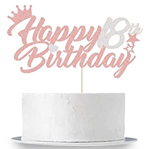 Happy 18th Birthday Cake Topper Silver and Rose Gold Glitter Forever 18 Birthday Party Cake Decor Hello 18/18 & Fabulous/18th Wedding Anniversary Girls 18th Birthday Party Cake Supplies Decorations