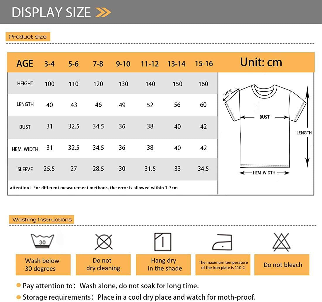 Showudesigns Boys` T Shirts Short-Sleeve Tees Top Kids Summer Shirt Crewneck Casual Tshirts for 3T-16T