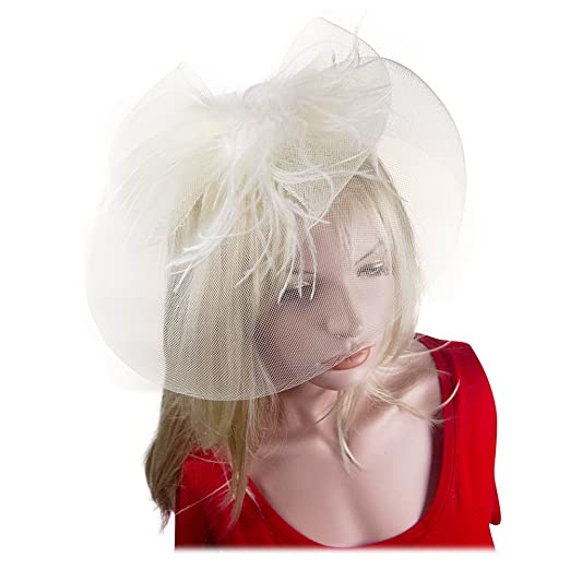 Fascinator Feather Mesh Net Cocktail Hat Headwear Party with Headband Ivory 65a51f92b55