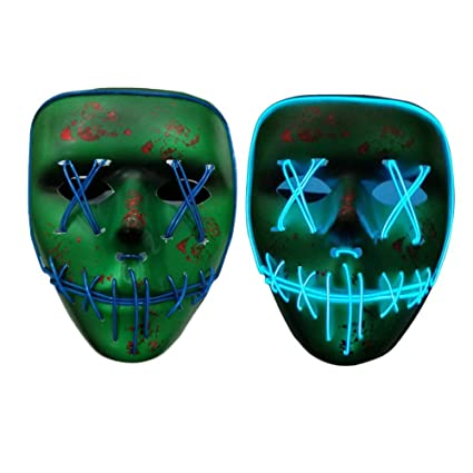 Halloween LED Luminous Flashing Face Mask Skull Full Face Mask Horror Skeleton Cosplay Masquerade Scary EL