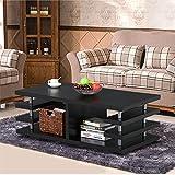 Yaheetech Modern Black Wood Coffee Table Multi Tier Design with Storage Shelf Living Room Furniture
