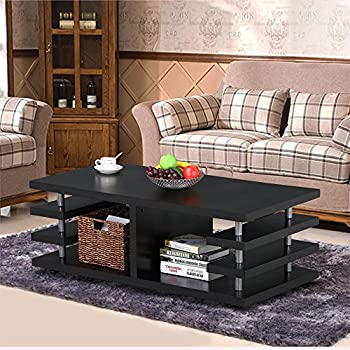 Go2buy Modern Large Black Wood Sofa Coffee Table Multi Tier Storage Shelf  Center Table Living Room