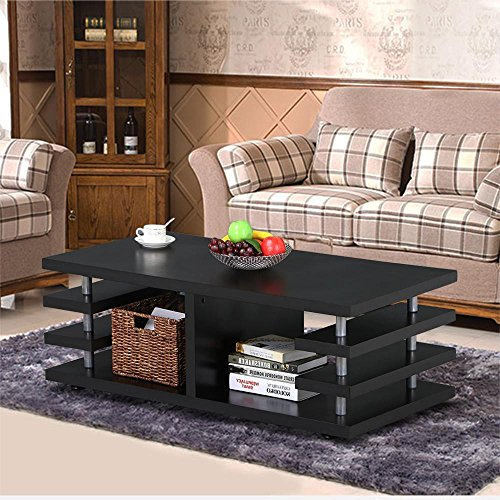 Black Living Room Furniture: Yaheetech Modern Black Wood Coffee Table Multi Tier Design