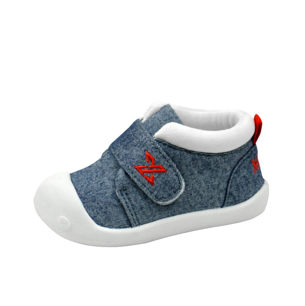 Baby Shoes Canvas Rubber Sole Breathable Outdoor Sneakers for Boys Girls Walking Toddler Shoes (16(Inside length-12.6cm)(15-18months), Denim Blue)