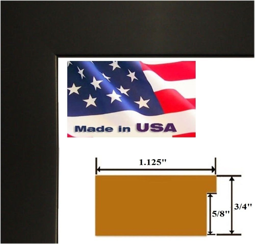 US Art 24x32 Custom Black 1.125 inch Picture Poster Photo Frame Solid Wood #CTM1125