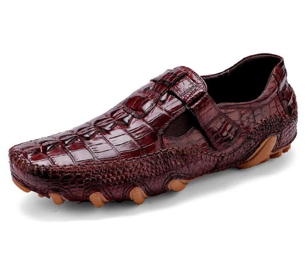 Zapatos de hombre de cuero genuino impresión de cocodrilo Conducción inteligente Casual imitación de suela de pulpo mocasín Slip on negro marrón talla 38 a 44 , brown , EU38 brown