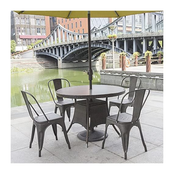 Furmax Metal Dining Chairs Set of 4 Indoor Outdoor Patio Chicken 18 Inch Seat Height Trattoria Chic Bistro Cafe Side Stackable,Gun - Style and occasion:Metal chair with simple style and gun metal,using indoors and outdoors,perfect for Kitchen, Cafe or Bistro. Easy assembly and premium material:Assembled within 10 minutes.Scratch and resistant steel,super durable.No-mark rubber feet keep them from sliding and scratching hardwood floors. Space saving and stability:Stackable for space saving and easy to carry.The seat has cross support at the bottom,which greatly increases the stability. - kitchen-dining-room-furniture, kitchen-dining-room, kitchen-dining-room-chairs - 61jhaR1qmdL. SS570  -