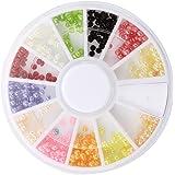 SODIAL(R) 500Pcs Colore Perle en demi cercle Strass 3D art d'ongle Decor Accessoires