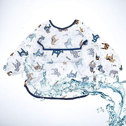 MSTG Tech 3 piece Cotton Long Sleeve Bibs Lightweight Washable Bibs Baby Waterproof Apron Sleeved Bib