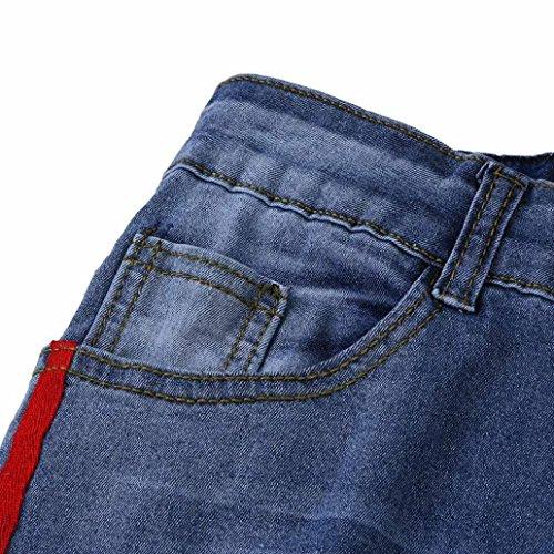 Denim Byste Tessitura Lunghi Rotti Jeans Stretta Elastico Fit Skinny In jeans Pantalone Slim Lato Pantaloni Blu Donna Gamba Matita A Fori Tasca grqx6gZw