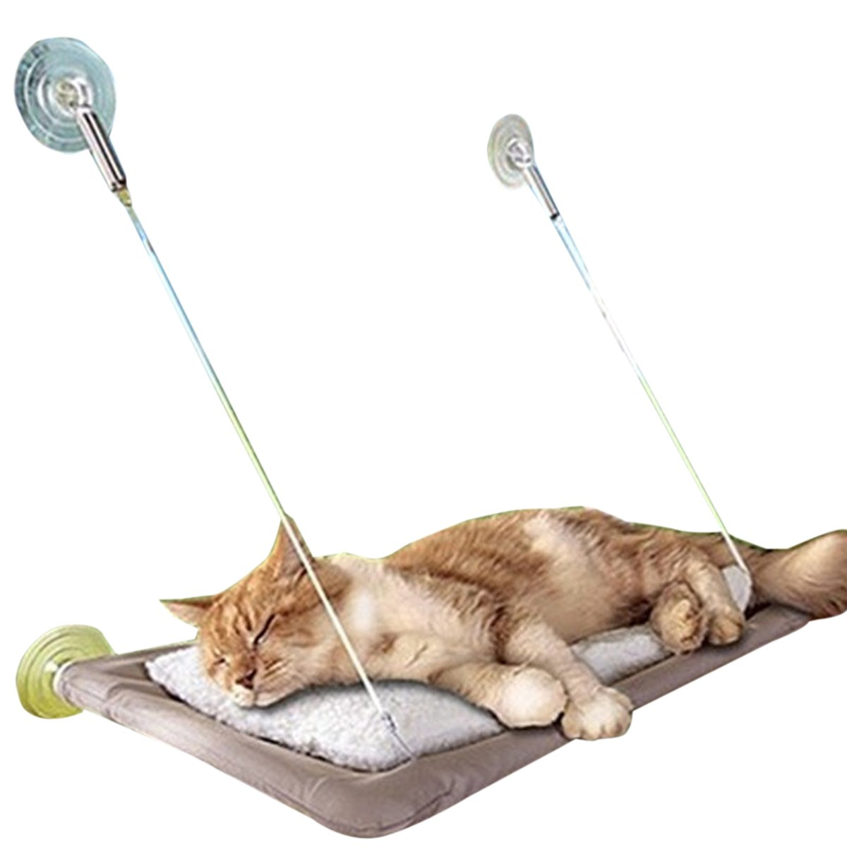 Adorrable Cat Hammock Window Mounted Sunny Seat Resting Safe Kitty Sill Cozy Cat Perch, Grey, Medium