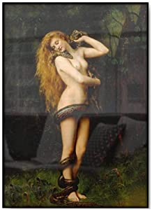 John Collier Famous Lilith Vintage Painting Poster Woman with Snake Serpent Garden of Eden Mythological Antique Wall Art Prints Decor 50x70cm No Frame