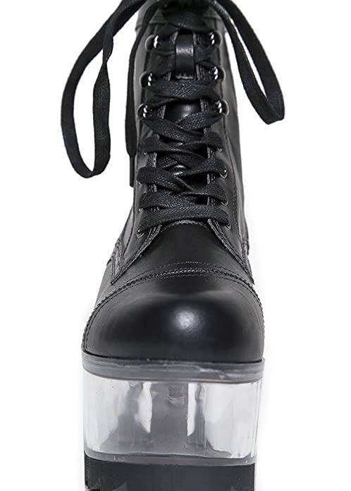 fe8c823db08 YRU Qloud G.I. Clear Platform Women s Ankle Boot Black Faux Leather UK 8   Amazon.co.uk  Shoes   Bags