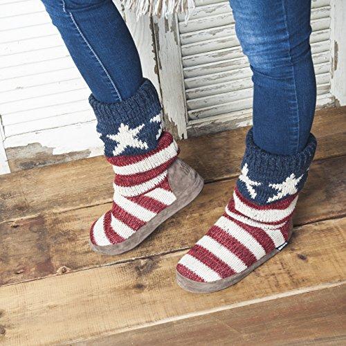 Muk Luks Women's Vanessa Americana Slouch Boot, Red, Medium/6.5-7.5 M US