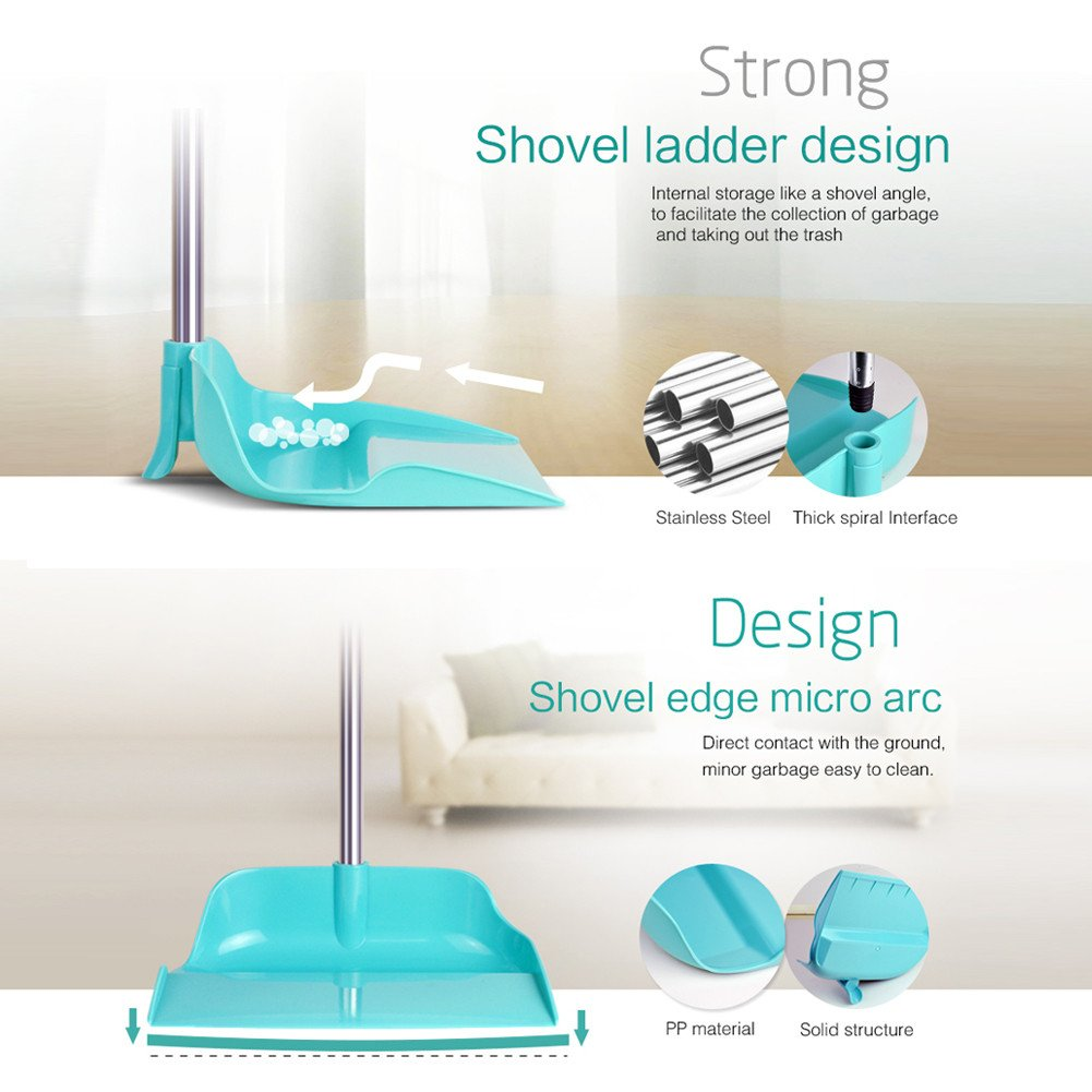 Upright Sweep Set, Material Home Casual Environmental Recycle Broom and Dustpan Set, Side Pour The Garbage for Kitchen Garden Home Office (Blue) by Biaky (Image #2)