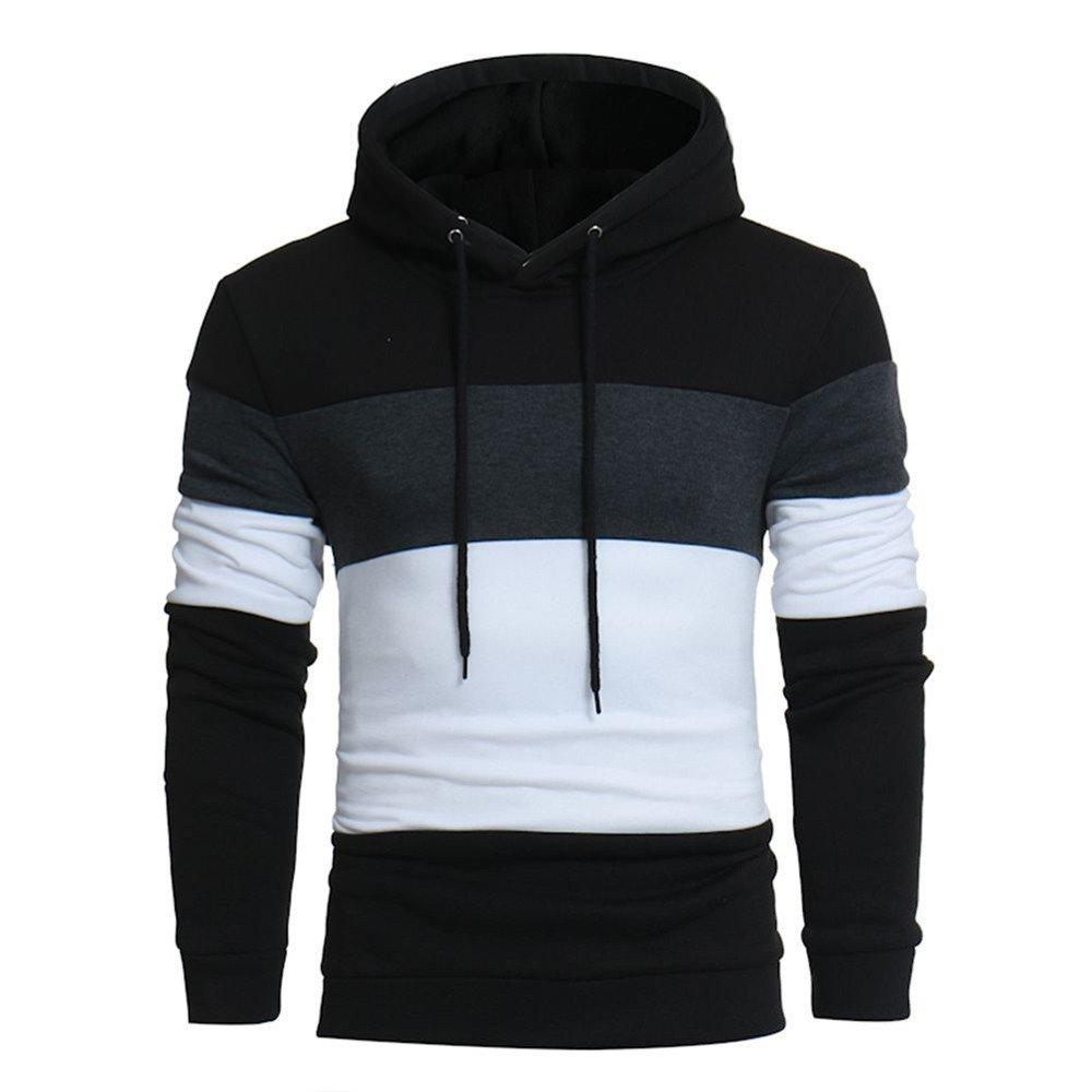 Realdo Men's Casual Sweatshirt Tops, Long Sleeve Elastic Hoodie Coat Outwear