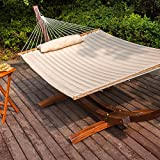 "LazyDaze Hammocks® 55"" Double Quilted Fabric Hammock Swing with Pillow, Natural"
