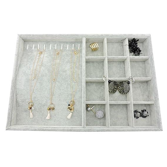 Soporte organizador de joyer/ía hecho de terciopelo color gris aretes o anillos ideal como mostrador de collares pulseras de la marca BOCAR