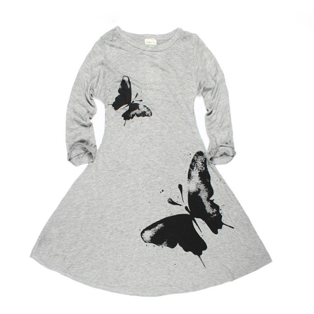 ZAMME Girls Cotton Long Sleeve Printing Skirt Dress 2-10T