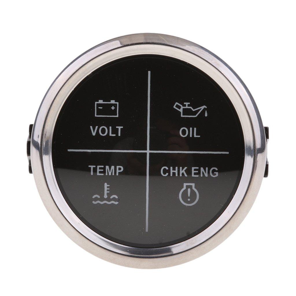 Chrome Nero MagiDeal 52mm Calibro Indicatore LED Allarme Motore Volt Olio Temperatura Moto