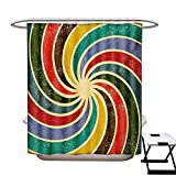 Best Creative Bath Shower Caddies - Groovy Shower Curtains Waterproof Abstract Aged Vintage Inspired Review