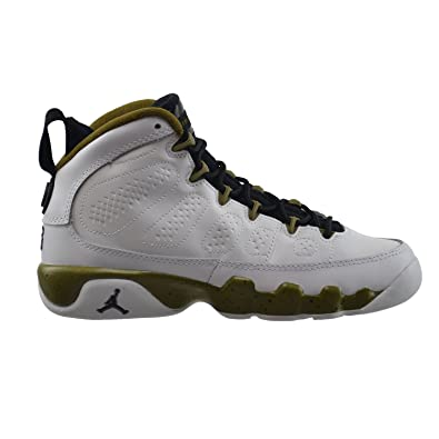 best sneakers 74161 c1714 Jordan Air 9 Retro BG Big Kids Basketball Shoes White Black-Militia Green  302359