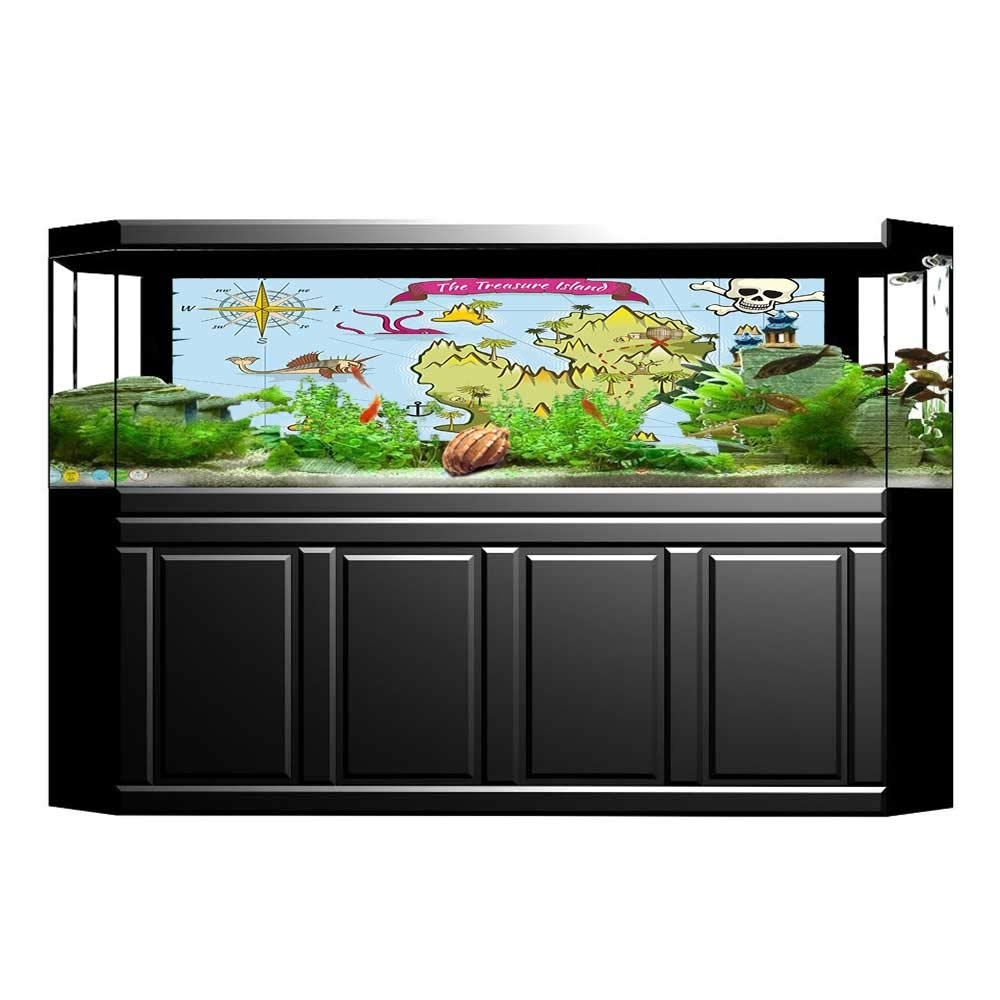 color08 L35.4\ color08 L35.4\ Jiahong Pan Decorative Aquarium Treasure Design Pirate Theme Fictional Aquarium Sticker Wallpaper Decoration L35.4 x H19.6