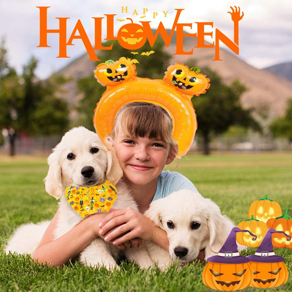 Ruide 3PCS Dog Bandana Halloween Pet Bandana Pet Kerchief Scarf Set Halloween Dog Bandanas Triangle Bibs Scarf Accessories Cats and Dogs