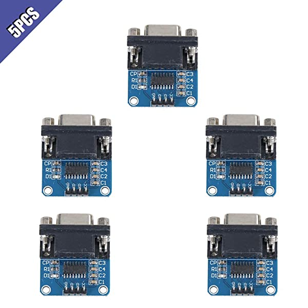 Ximimark 5Pcs MAX3232 Root Module Connector Chip RS232 to TTL Female Serial Port to TTL Converter Module for Equipment Upgrades Like DVD