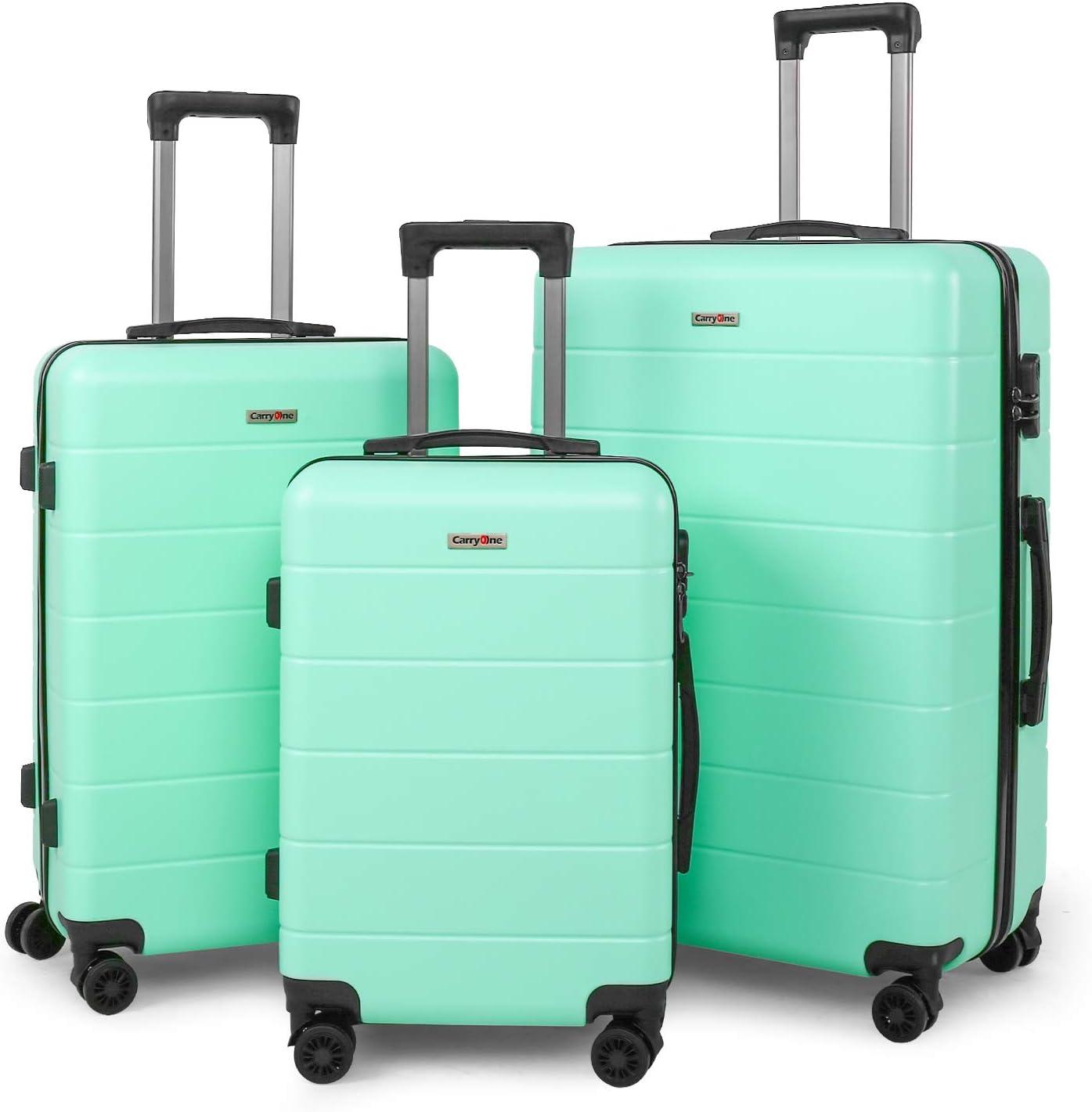 CarryOne Equipaje Juego de 3 Piezas Maleta Ligero | 4 Ruedas Giratorias Silenciosas de Doble | Candado Numérica | 20in24in28in para Vacaciones Viaje-19TC1-Verde