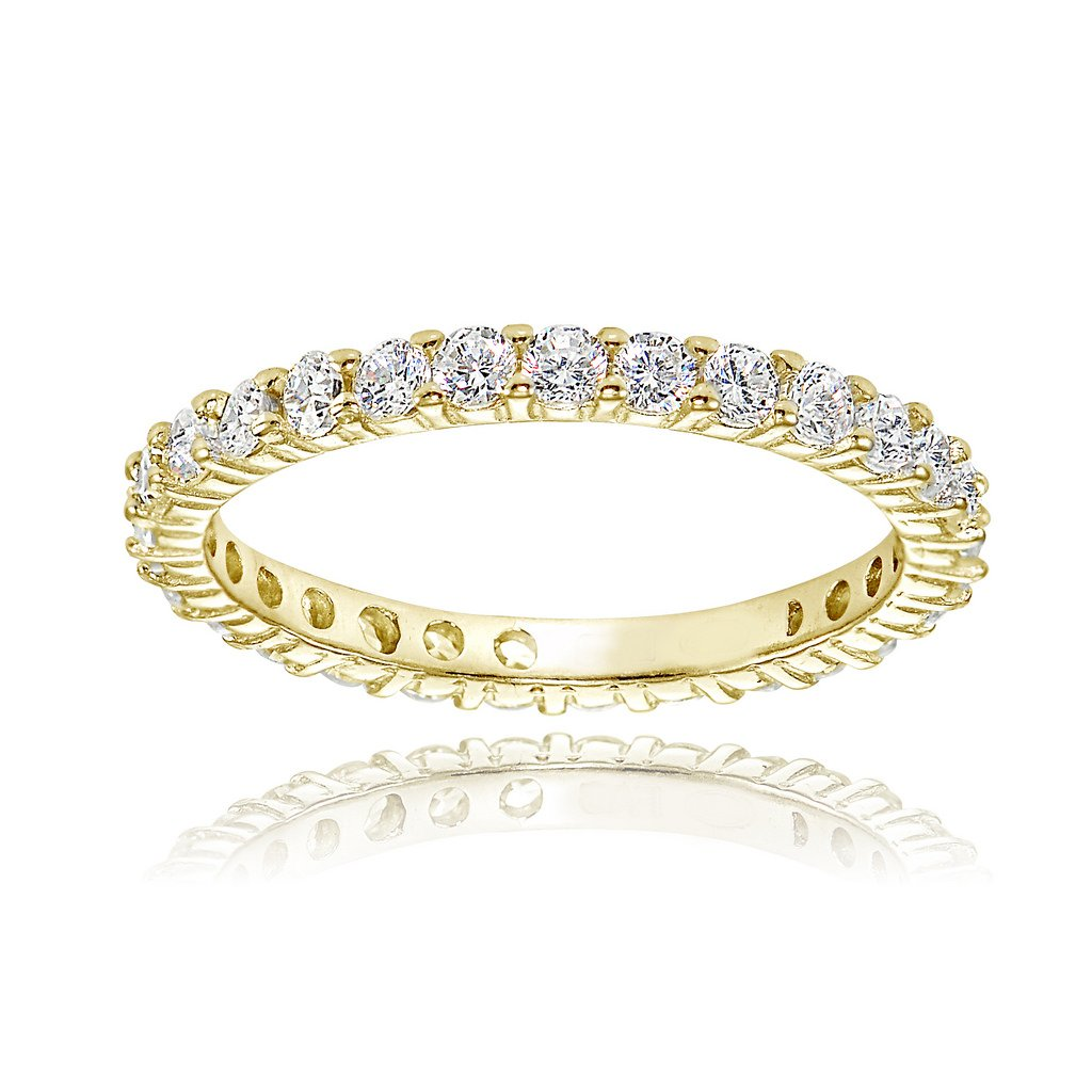 Yellow Gold Flashed Sterling Silver Cubic Zirconia 2mm Round-cut Eternity Band Ring