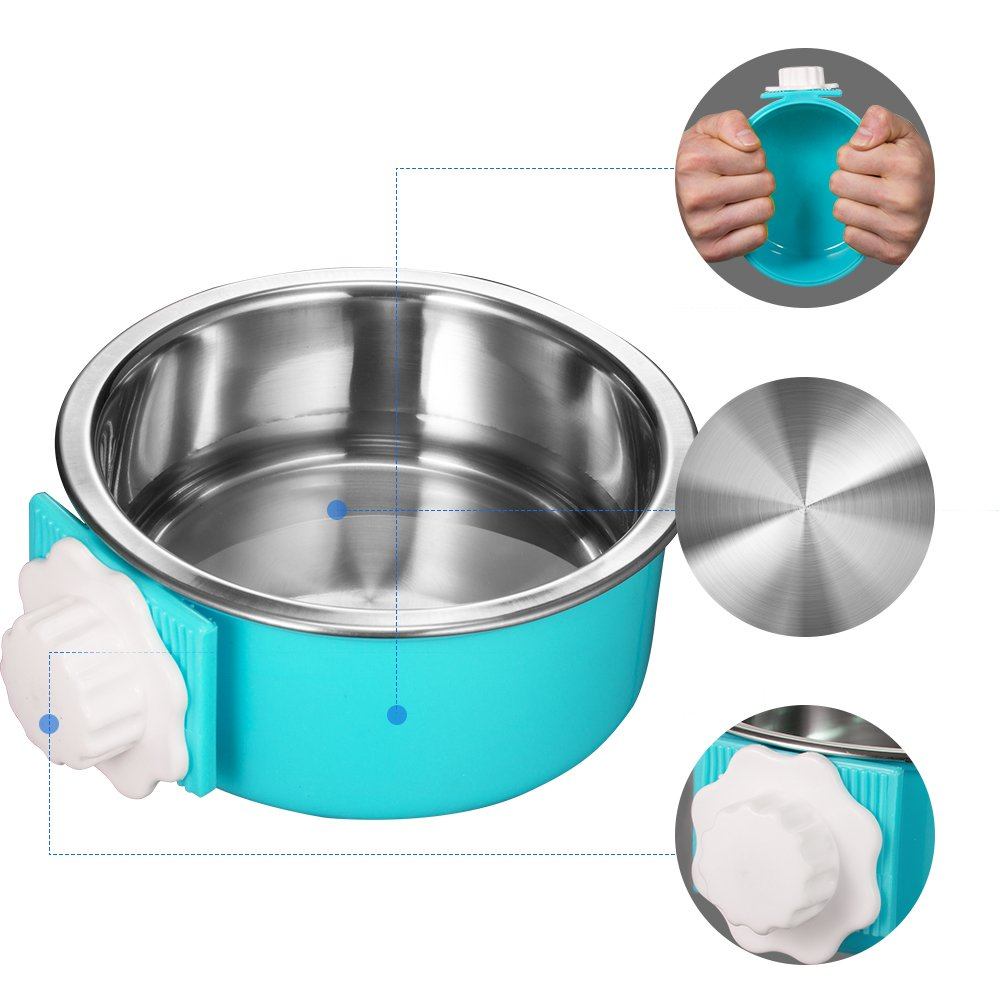 Amazon 5 stars Crate Dog Bowl, Stainless Steel Removable Hanging Food Water Bowl Cage Coop Cup for Dogs, Cats, Small Animals,14 oz by Amazon 5 stars (Image #2)