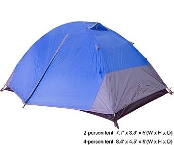 NINAT Tienda de Campaña Impermeable para 2 Personas UV Resistente Acampar Excursionismo y Tiendas Iglú, Blue: Amazon.es: Deportes y aire libre