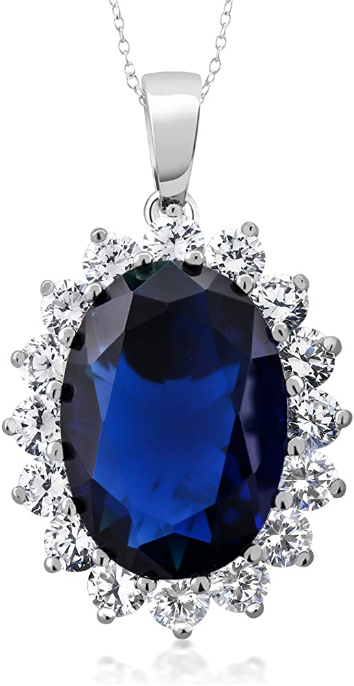 Gem Stone King 925 Sterling Silver Blue Simulated Sapphire Pendant Necklace 13.00 Ct Oval 13X18MM with 18 Inch Silver Chain For Women 61jhfa1uTdL