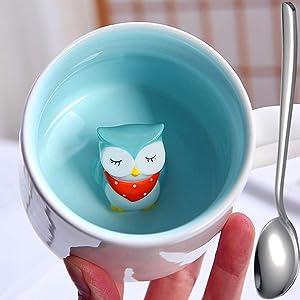 Coffee Mugs | Hidden Owl Inside Milk Tea Ceramic Mug, Cartoon Porcelain Cups - 12 oz Creative 3D Animal Morning Cup | Weddings, Birthdays for Coffee Lovers…