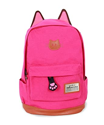 48e8b7401d Moolecole Leather   Canvas Backpack School Bag with Cat s Ears Design ...