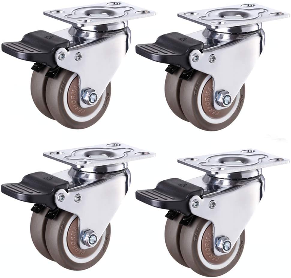 MWPO 4 x Wheels Heavy Duty TPR Rubber Silent 1.5In44mm 2'' 50mm, Baby cot Plate Swivel casters, Twin Wheel Industrial 200kg Universal Quiet Rolling, Furniture Chair Factory Hospital Hotel Crib